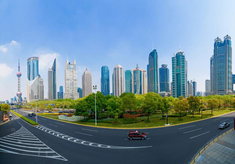 Skyscraper and high-rise office buildings in Shanghai Downtown, China. Financial district and business centers in smart city in royalty free stock photo