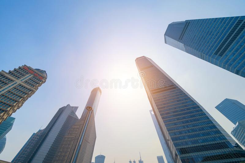 Skyscraper and high-rise office buildings in Shanghai Downtown, China. Financial district and business centers in smart city in royalty free stock photos