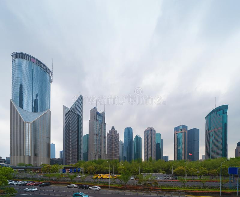 Skyscraper and high-rise office buildings in Shanghai Downtown, China. Financial district and business centers in smart city in. Asia royalty free stock photos