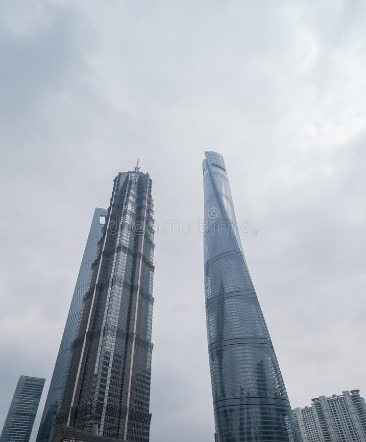 Skyscraper and high-rise office buildings in Shanghai Downtown, China. Financial district and business centers in smart city in. Asia royalty free stock photo
