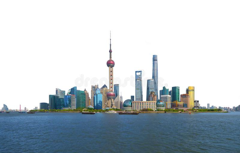 Skyscraper and high-rise office buildings in Shanghai Downtown isolated on white background, China. Financial district and. Business centers in smart city in stock photography