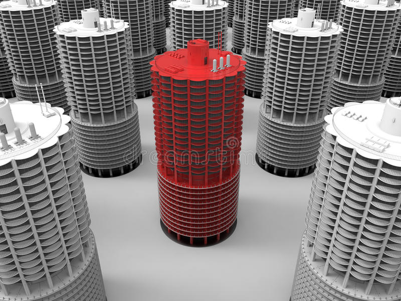 Skyscraper highlighted concept royalty free illustration