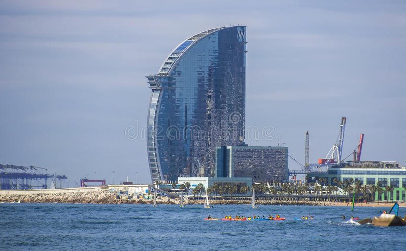 Skyscraper Hotel Vela. BARCELONA, SPAIN - JULY 13, 2016: W Barcelona Hotel, known as the Hotel Vela (Sail Hotel), designed by Architect Ricardo Bofill. Located royalty free stock photos