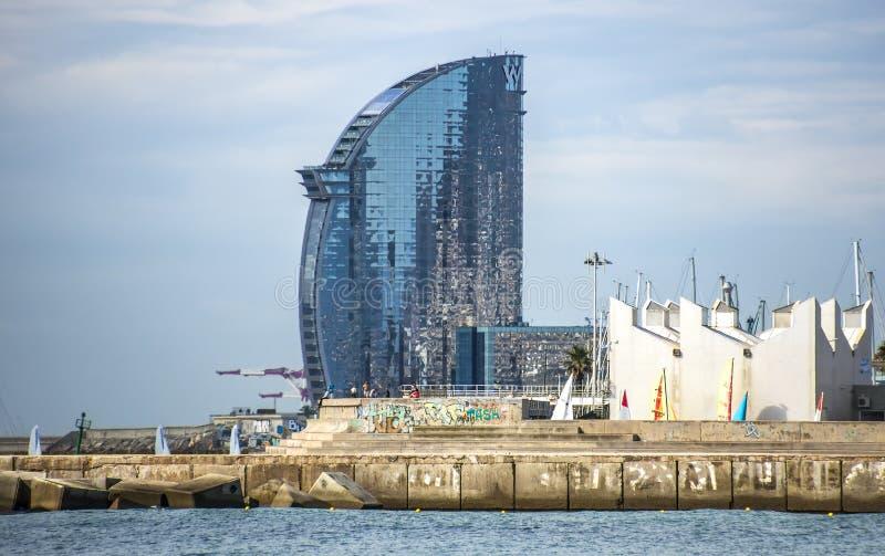 Skyscraper Hotel Vela. BARCELONA, SPAIN - JULY 13, 2016: W Barcelona Hotel, known as the Hotel Vela (Sail Hotel), designed by Architect Ricardo Bofill. Located stock photo