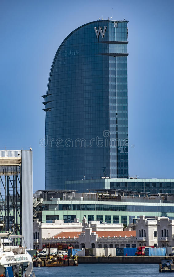 Skyscraper Hotel Vela. BARCELONA, SPAIN - JULY 4, 2016: W Barcelona Hotel, known as the Hotel Vela (Sail Hotel), designed by Architect Ricardo Bofill. Located on royalty free stock images