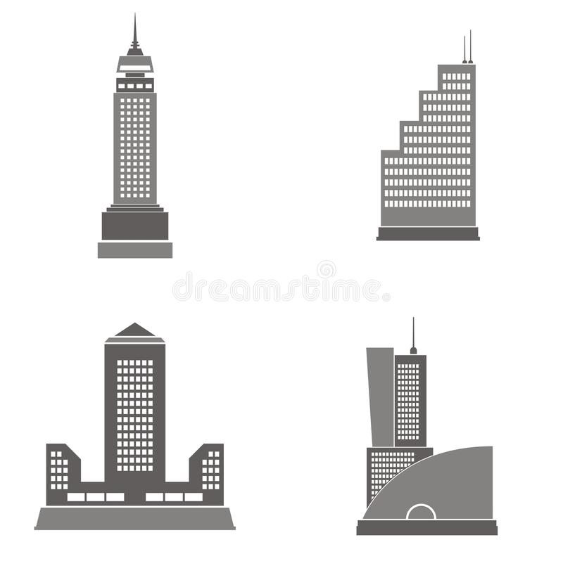 Skyscraper illustrations. Vector illustrations of four skyscrapers. Great design elements for various projects vector illustration