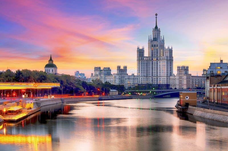 Skyscraper on Kotelnicheskaya embankment at sunset, Moscow.  royalty free stock image