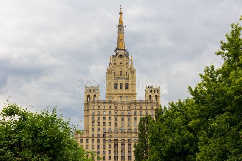 Skyscraper on the Kudrinskaya Square royalty free stock photos