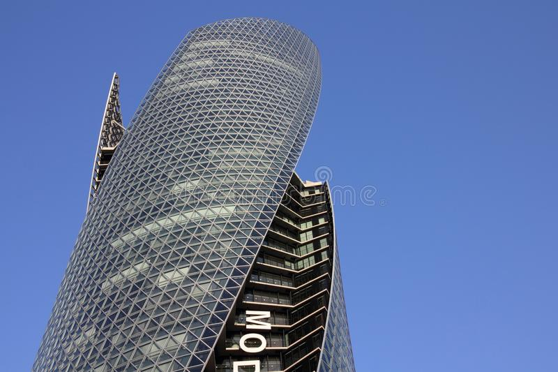 Skyscraper in Nagoya. NAGOYA, JAPAN - APRIL 28: Mode Gakuen Spiral Towers building on April 28, 2012 in Nagoya, Japan. The building was finished in 2008, is 170m royalty free stock photos