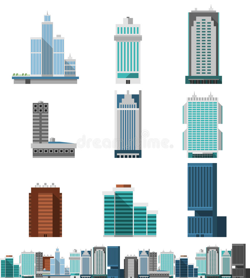 Skyscraper Offices Set royalty free illustration