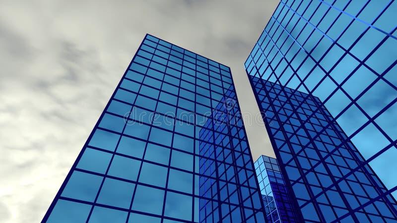 Skyscraper perspective finance many building blue glass windows 3D illustration royalty free illustration