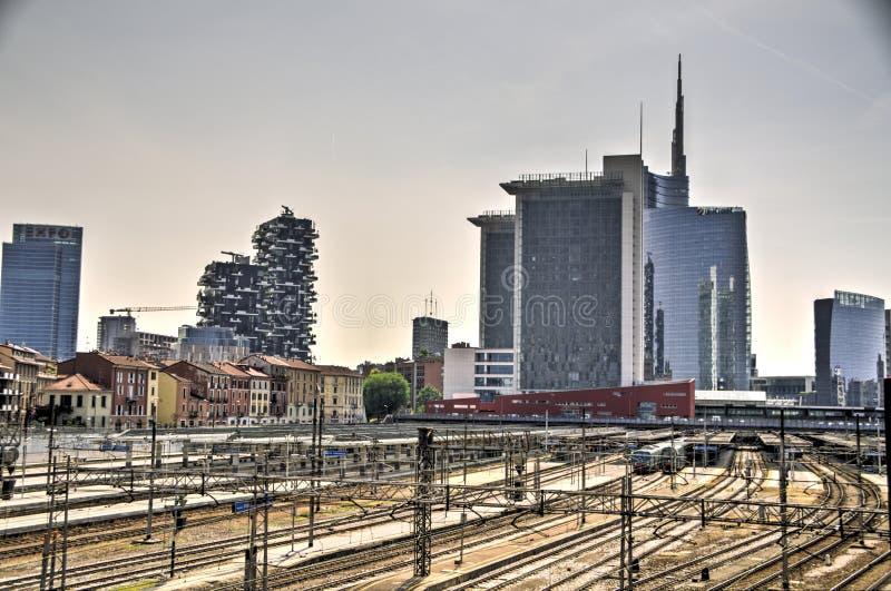 Skyscraper at Porta Nuova in Milan, Italy. The new Porta Nuova area with its futuristic skyscrapers is finally open to visitors and ready for Expo 2015 stock photo