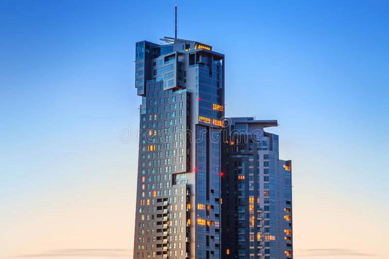 Download Skyscraper Sea Towers At Sunset In Gdynia Stock Image - Image of city, futuristic: 38465063