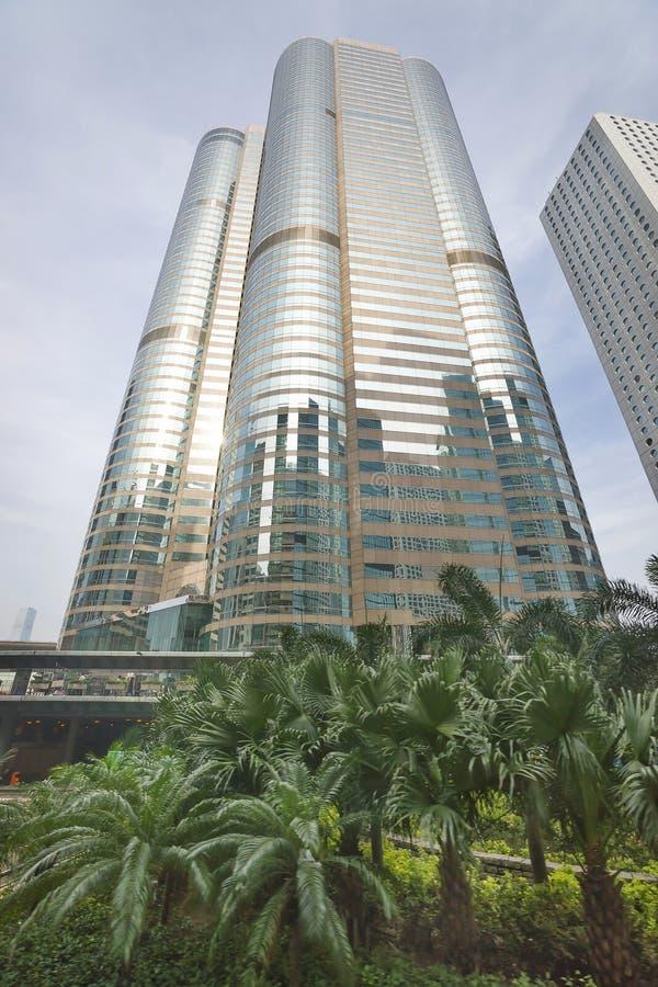 Skyscraper upward view in central Hong Kong stock image