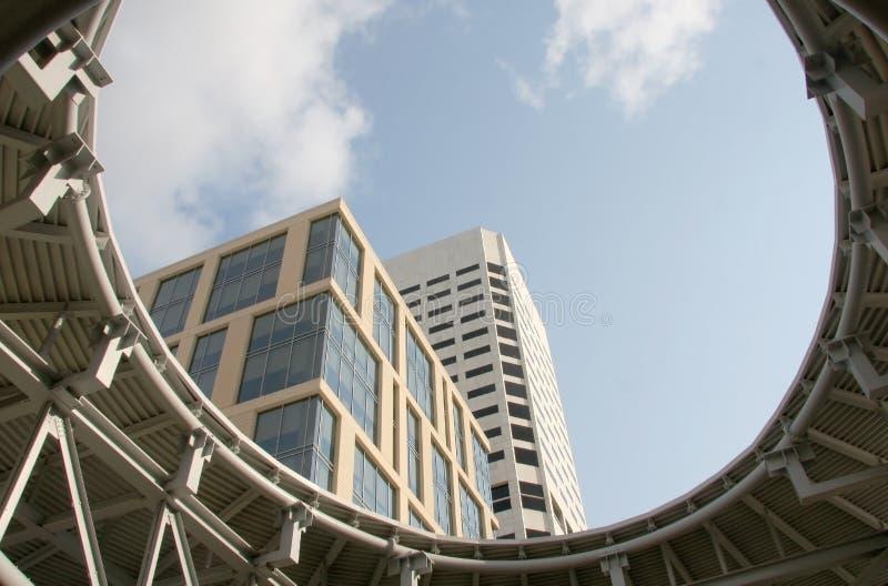 Skyscraper view from Houston pavillions royalty free stock photo