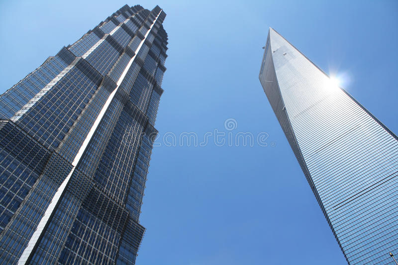 Skyscrapers. Two skyscrapers and blue sky in Shanghai royalty free stock photos