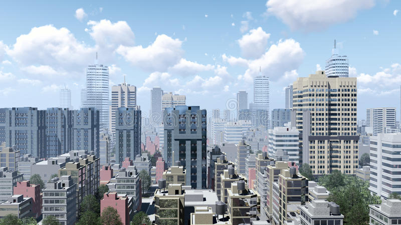 Skyscrapers of abstract city downtown. Modern high rise buildings skyscrapers in the heart of abstract big city downtown at daytime. 3D illustration from my own vector illustration