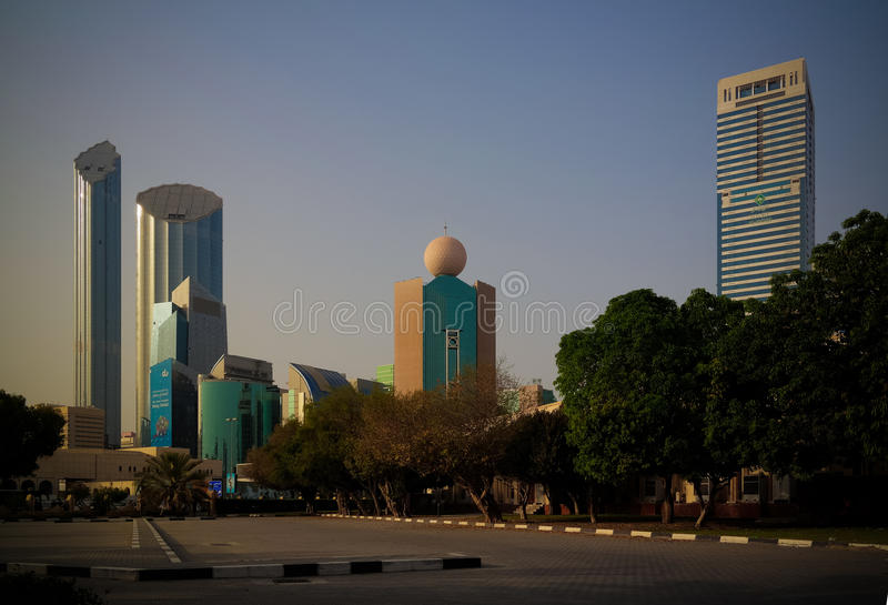 Skyscrapers in the Abu Dhabi city center, UAE stock image