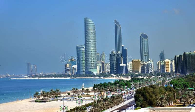 Skyscrapers of Abu Dhabi Corniche. stock photos