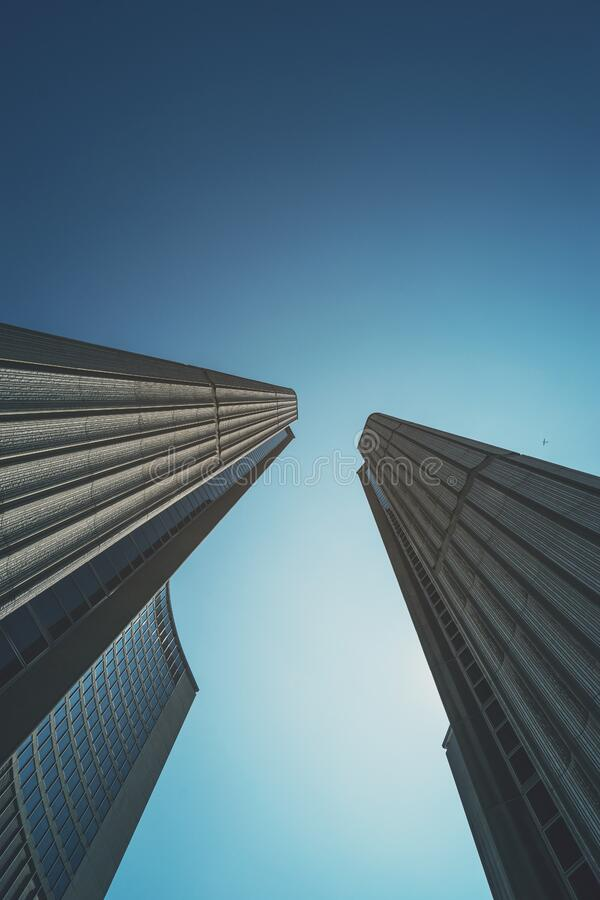 Skyscrapers against blue skies royalty free stock photos