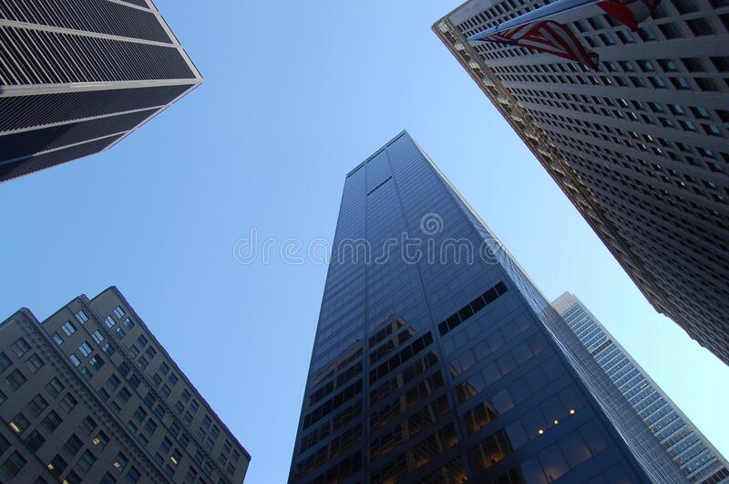 Skyscrapers against blue skies stock photo