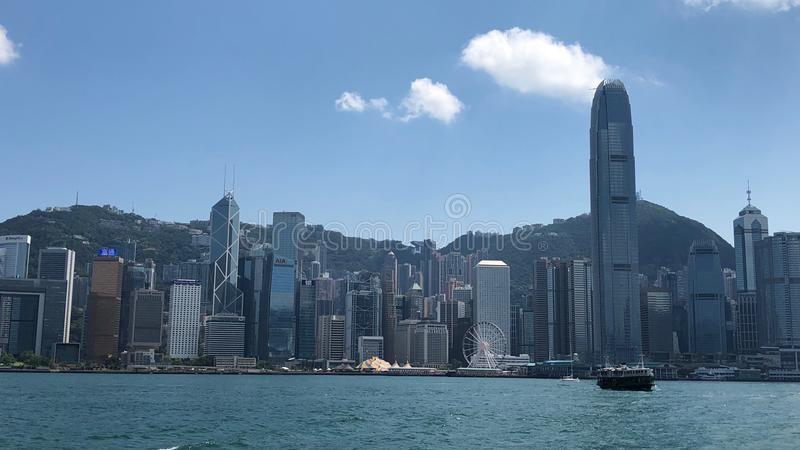 Skyscrapers along Victoria Harbor in Central District in Hong Kong royalty free stock image