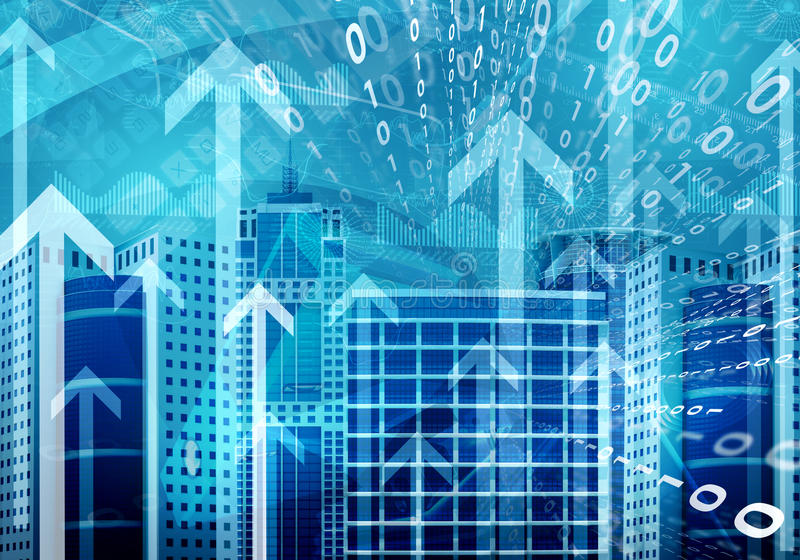Download Skyscrapers With Background Of Figures And Arrows Stock Photo - Image: 41427456