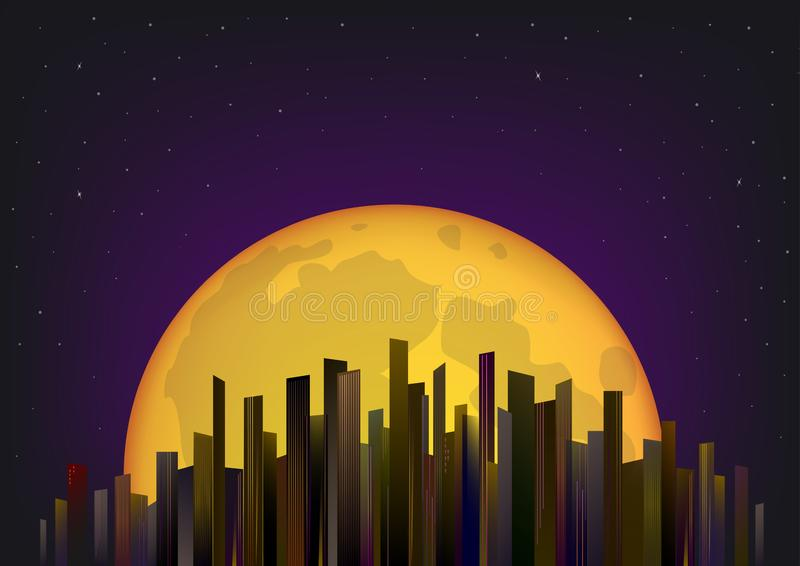 Skyscrapers on the background of full moon and night sky, horizontal vector illustration. Skyscrapers on the background of the full moon and night sky stock illustration