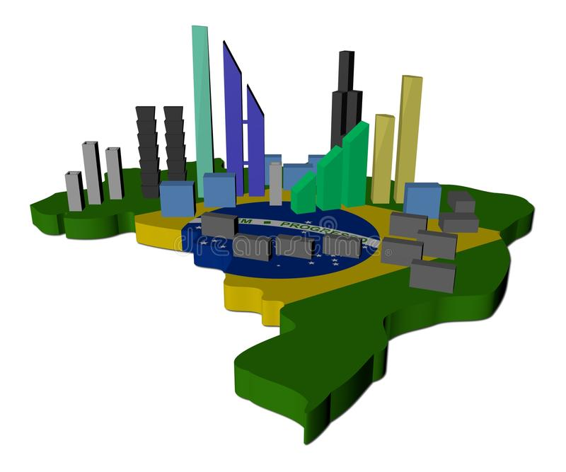 Skyscrapers on Brazil map flag royalty free illustration