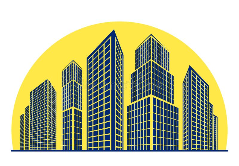 Skyscrapers, buildings against the background of rising sun. Vector logo, emblem for real estate sign, construction company. Cityscape concept illustration for stock illustration