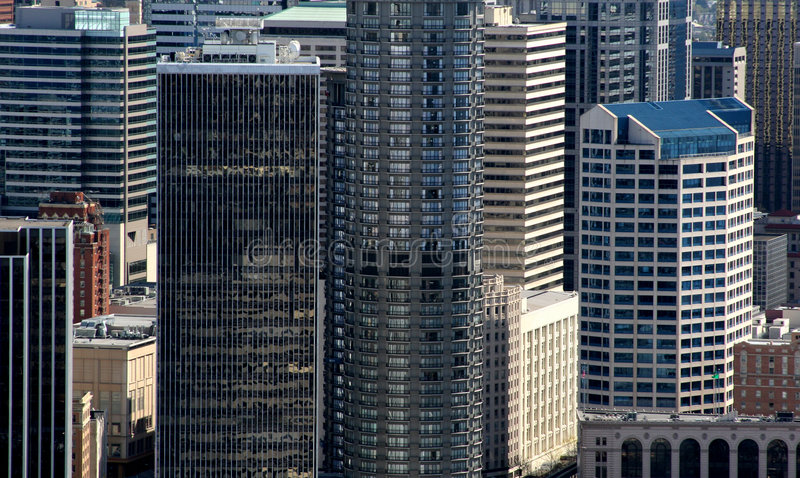 Skyscrapers in business district royalty free stock photos