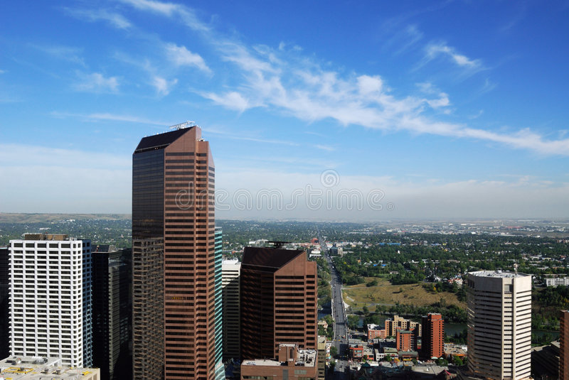 Skyscrapers in calgary downtown royalty free stock photography