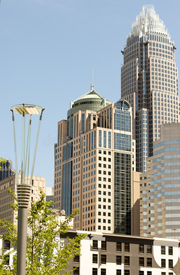 Skyscrapers in Charlotte, NC stock photography