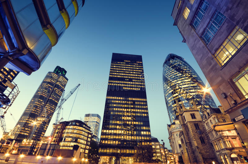 Skyscrapers of City of London stock image