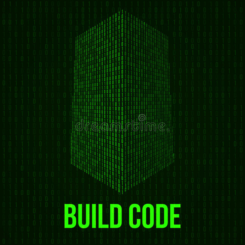Skyscrapers code. Binary digital form of futuristic city building stock illustration