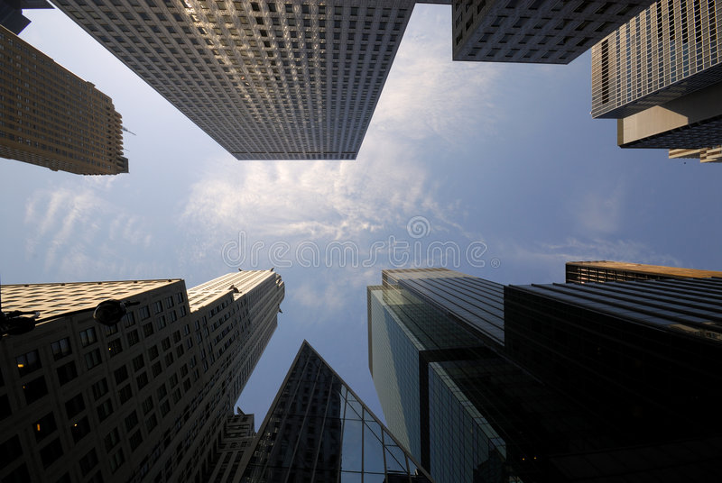 Skyscrapers downtown in Manhattan. New York City stock photo