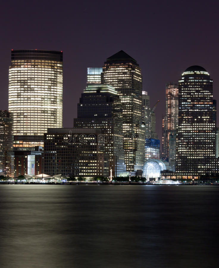 Skyscrapers Of Downtown NY City Night Royalty Free Stock Photography