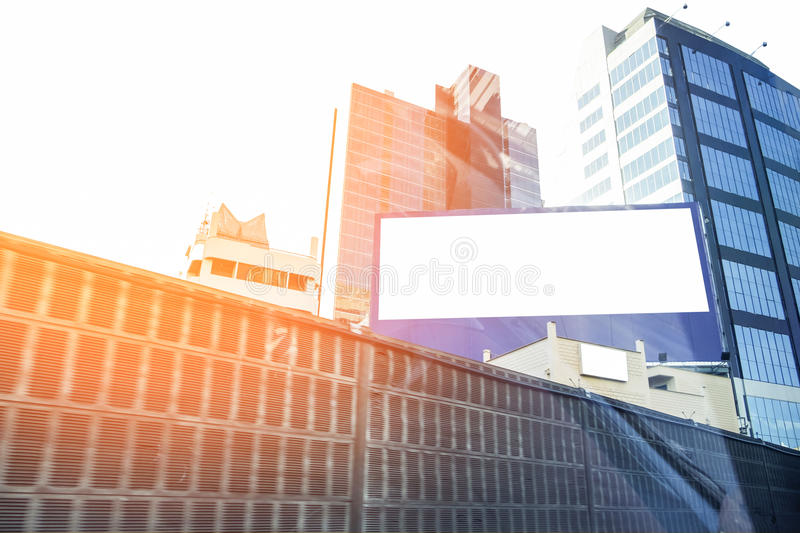 Skyscrapers exterior modern and billboard royalty free stock photography