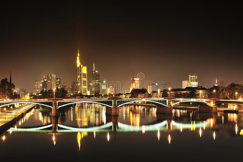 Frankfurt modern city by night royalty free stock images
