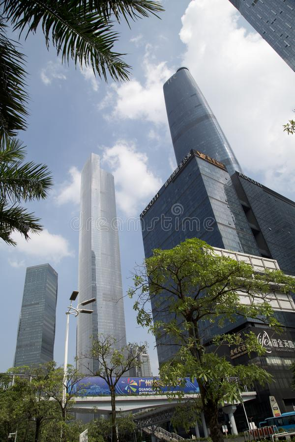 Skyscrapers in Haixinsha Park city Guangzhou China. Different style modern buildings in the city Guangzhou Haixinsha Park, Guangdong province China Asia royalty free stock images