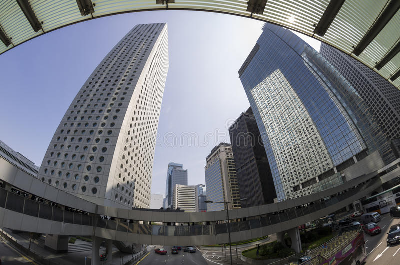 Skyscrapers. HONG KONG - FEBRUARY 23: Fisheye view on skyscrapers on February 23, 2013 in Hong Kong. Hong Kong is an international financial centre that has 112 royalty free stock images