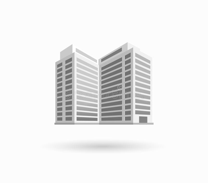 Skyscrapers House Building Icon. Skyscraper logo building icon. Black building and skyscraper, tower and office city architecture, house business building logo stock illustration