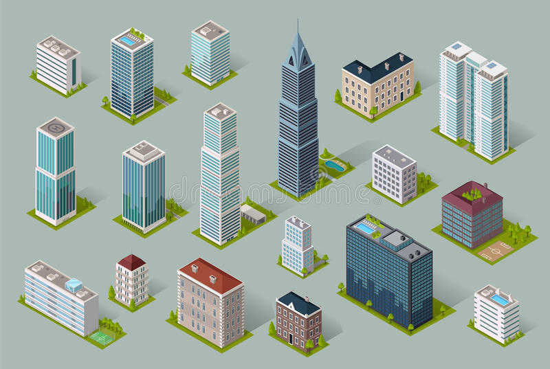 Skyscrapers House Building Icon. Skyscraper logo building icon. Set of buildings and isolated skyscraper. Isometric tower and office city architecture buildings stock illustration