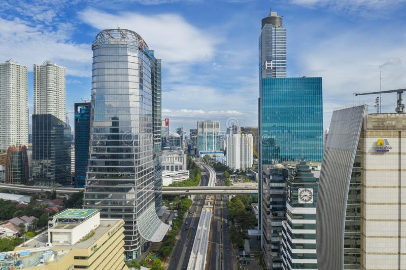 Skyscrapers with located in Central Business District. JAKARTA - Indonesia. January 03, 2019: Skyscrapers with located in South Jakarta Central Business District stock photography