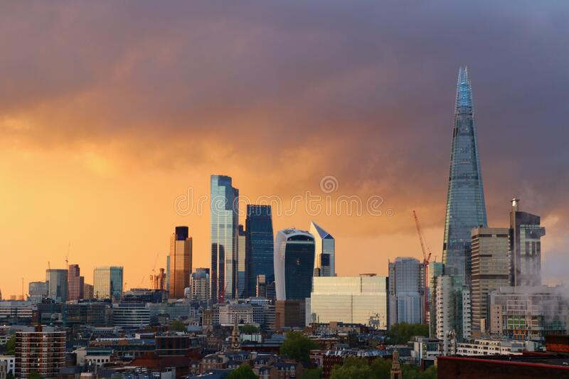 Skyscrapers in London, Great Britain, Sky on Fire royalty free stock photo