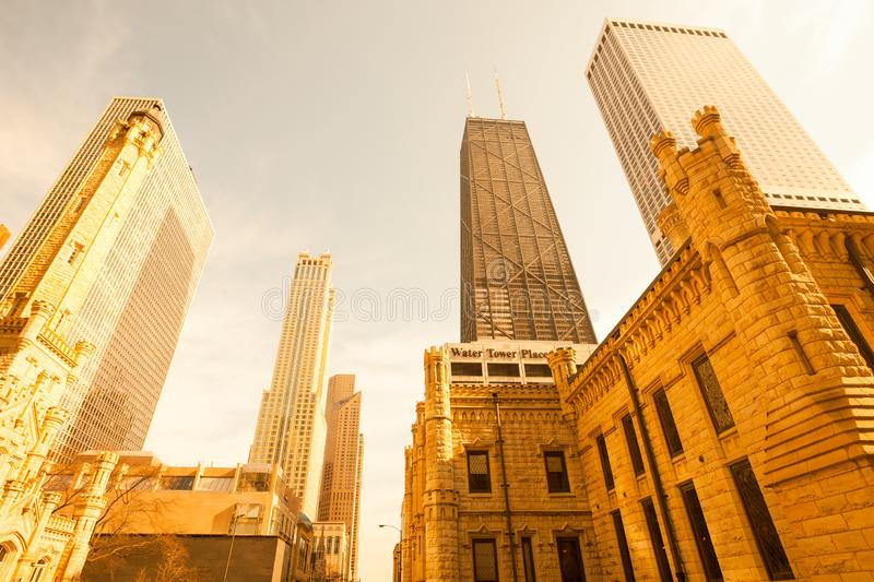 Skyscrapers at Michigan Avenue, Chicago royalty free stock photo