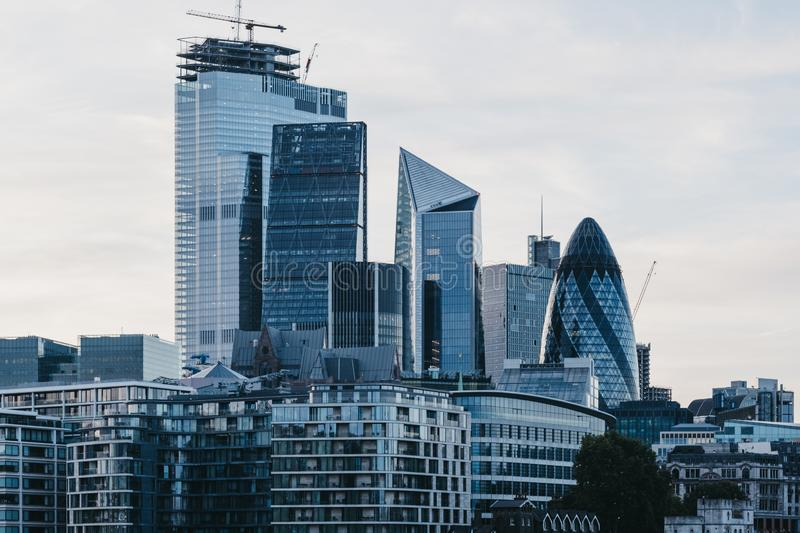 Skyscrapers and modern office buildings of the City of London, UK royalty free stock photo