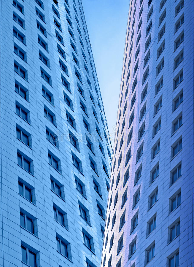 Skyscrapers, morning. Two high-rise buildings at morning royalty free stock photos