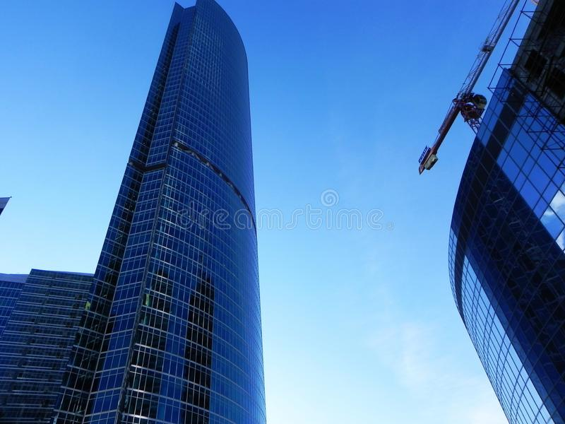 Skyscrapers in Moscow city. Architectural complex of office and residential buildings. stock photography