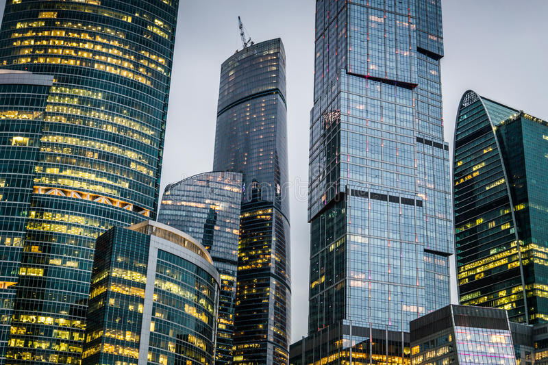 Skyscrapers of Moscow city business center. Skyscrapers of Moscow city business center at night royalty free stock photos